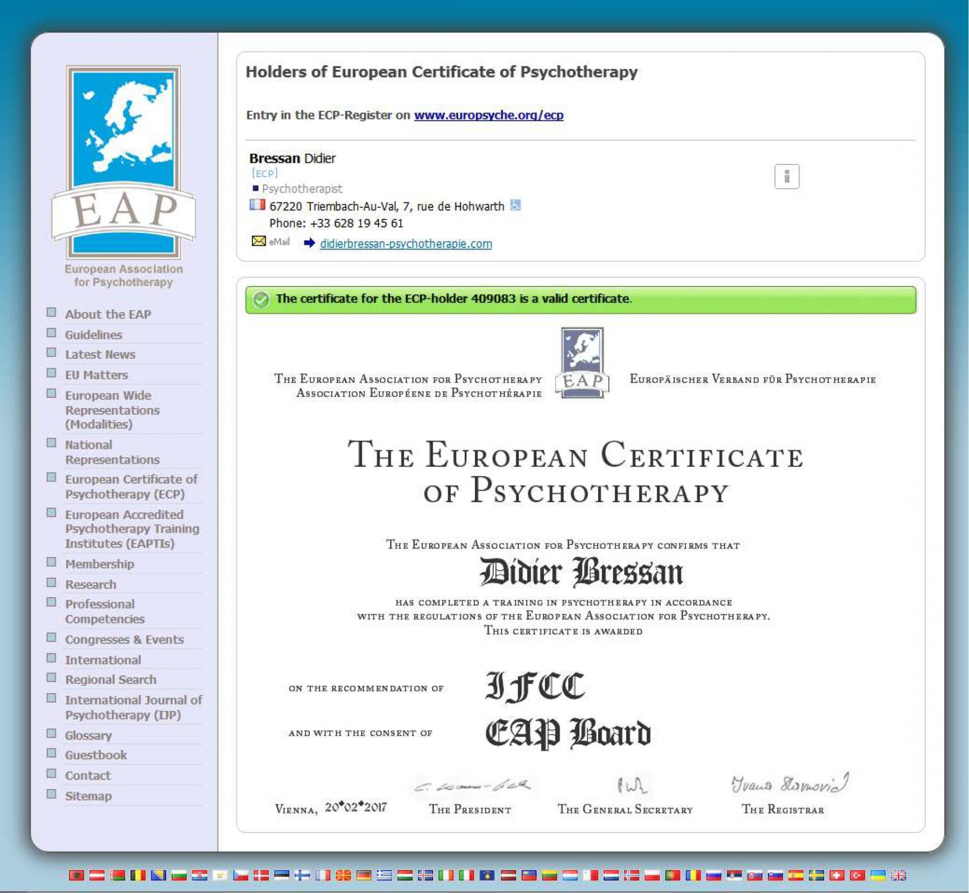 Certificat Européen de Psychothérapie